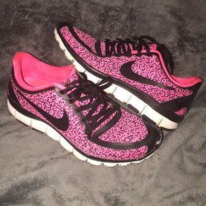 Pink cheetah Nike sneakers